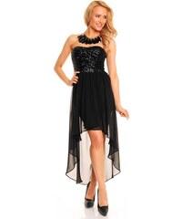 Dámské společenské a plesové šaty korzetové flitrové značkové MAYAADI 297 s asymetrickou sukní černé