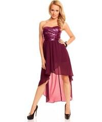 Dámské společenské a plesové šaty korzetové flitrové značkové MAYAADI 297 s asymetrickou sukní fialové