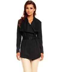 Dámský vlněný kabátek DROLE DE COPINE 8188 s páskem černý