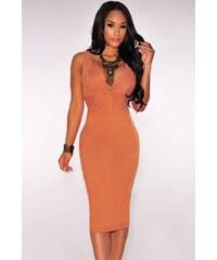 Oranžové semišové midi šaty