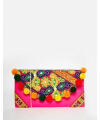 Moyna - Bestickte Clutch mit Umschlagklappe und Bommelbesatz - Mehrfarbig