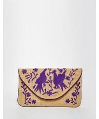 Moyna - Jute-Clutch mit violetter Stickerei - Mehrfarbig