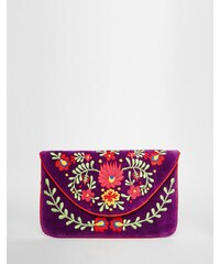 Moyna - Envelope-Clutch aus Samt mit Stickerei - Violett