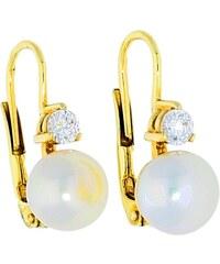 Goldstore Zlaté náušnice perla menší zirkon 5cf9049bfca