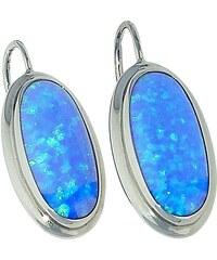 Goldstore Stříbrné náušnice modré oválné opály