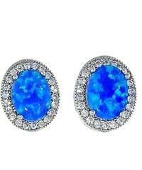 Goldstore Stříbrné náušnice s modrým opálem