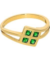 Goldstore Zlatý prsten zelené smaragdy