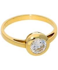 Goldstore Zlatý zásnubní prsten s kulatým zirkonem