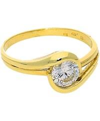 Goldstore Zásnubní zlatý prsten s bílým zirkonem