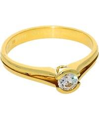Goldstore Zásnubní prsten zlatý bílý zirkon