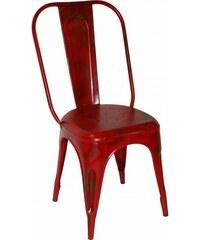Industrial style, Kovová stolička v industriálnom štýle - červená 93 x41 x40 / sedadlo 48 cm (321)