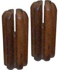 Industrial style, Vintage svícen ze dřeva 21x9,5cm (364)