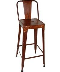 Industrial style, Barová stolička s kožou - hrdzavá 105x36x36cm (547)