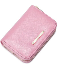 NUCELLE Dámská mini kožená peněženka na karty růžová