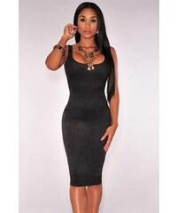 Levné černé semiš midi šaty bez rukávů 16c0d6e1540