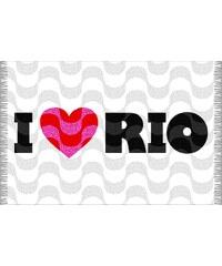 """Bali Blue Paréo Blanc Copacabana, Inscription """"i Love Rio"""" - Canga Copacabana Love Rio"""