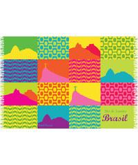 Bali Blue Paréo Multicolore, Patchwork Emblèmes Rio De Janeiro - Canga Carioca Patchwork