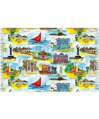 Bali Blue Paréo Carte Postale, Lieux De Alagoas - Canga Alagoas Aquarela