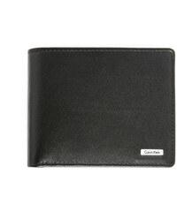 Calvin Klein Schwarzes italienisches Leder-Portemonnaie mit Reißverschluss