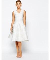True Decadence - Robe de bal de fin d'année mi-longue en jacquard exclusivité ASOS - Blanc