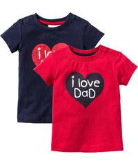 bpc bonprix collection Lot de 2 T-shirts bébé en coton bio, T. 56/62-104/110 rouge manches courtes enfant - bonprix