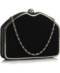 Luxusní černé perleťové psaníčko LS Fashion Severina černá
