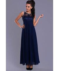 Dámské společenské šaty EVA LOLA s plastickým živůtkem dlouhé tmavě modré