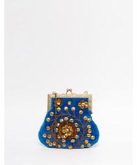 Moyna - Samt-Clutch mit goldfarbener Perlenverzierung - Blau