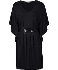 BODYFLIRT Kleid mit Pailletten-Applikation halber Arm in schwarz von bonprix