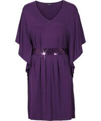 BODYFLIRT Kleid mit Pailletten-Applikation halber Arm in lila von bonprix