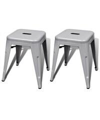 Malá kovová stolička Industrial Grey, 2ks