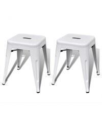 Malá kovová stolička Industrial White, 2ks