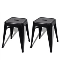 Malá kovová stolička Industrial Black, 2ks