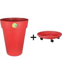 Pot+Soucoupe à roulettes SOLEILLA Ø40H53 rouge - RIVIERA-415356-133156
