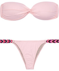 Triya Bikini Bandeau Rose Pâle, Liens Façon Bracelets - Mandy