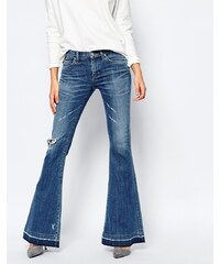 A-Gold-E - Madison - Jean évasé vieilli style rétro avec ourlet brut - Bleu