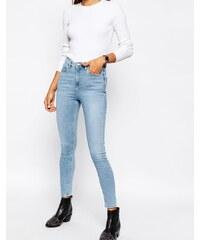 ASOS - Ridley - Jean skinny taille haute à délavage stone clair Carnation - Bleu