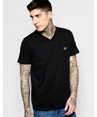 Fred Perry - T-shirt à col V et logo couronne de lauriers - Noir