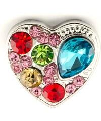 JewelsHall Knoflík Cvak - srdce vícebarevné - 1,8 cm