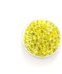 JewelsHall Knoflík Cvak - krystaly ve hmotě - žlutý - 1,8 cm