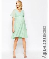 ASOS Maternity - Robe mi-longue plissée avec dentelle pour mariage - Vert