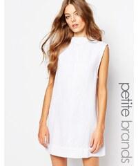 Waven Petite - Ditte - Robe en jean à encolure montante - Blanc