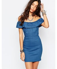 HUSH HUSH Lehké džínové bardot šaty