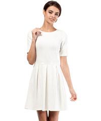 Dámské košilové šaty MOE 385 bílé s pírky - Glami.cz 637e721823b