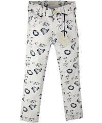 Dirkje Dívčí kalhoty se srdíčky - bílé