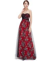 Ever-Pretty plesové šaty Báthory, červené s květy