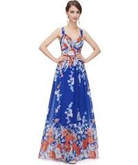 Ever-Pretty plesové šaty Luční víla, modré s květy
