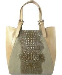Kožená kabelka Vera Pelle 0145C béžová