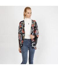 Lesara Kimono mit Fransen - Schwarz - S