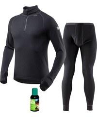Devold EXPEDITION pánský set černý: rolák + dlouhé kalhoty + prací gel M S